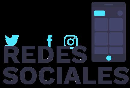 Texto redes sociales con un icono de un móvil y los logotipos