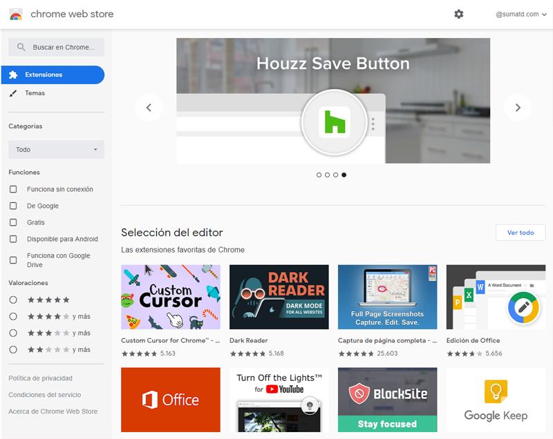 El buscador de Chrome Web Store te permite encontrar rápida y fácilmente las mejores extensiones de Google y de otros desarrolladores web.