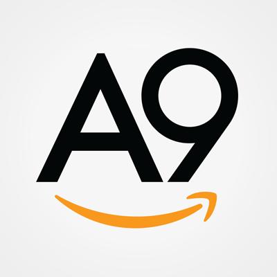 Logo de A9, el algoritmo de Amazon, en fondo gris y letras negras.
